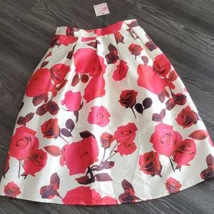 Chicwish Red and Pink Floral Skirt